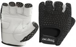 Перчатки Be First белый хват, черная сетка