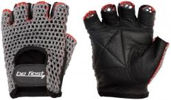 Перчатки Be First серая сетка, черный хват